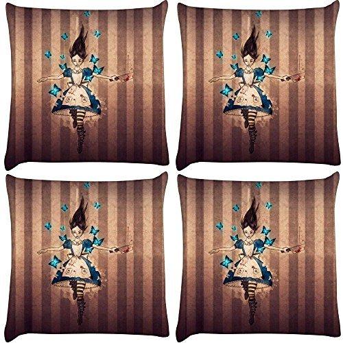 Snoogg 4Stück Unbarmherziger Alice Digital Kissenbezug, bedruckt Kissen 40,6x 40,6cm