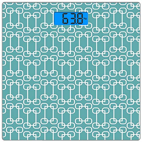 Präzisions-Digital-Personenwaage Türkis Ultraflache Personenwaage aus gehärtetem Glas Genaue Gewichtsmessungen, Vintage 60er Jahre inspirierte Retro-Quadrate und Kreise, fliesenartig, blaugrün und wei