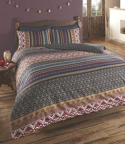 De cama Luxury Indian Ethnic Print Orkney Duvet Quilt Cover Bedding Set, Polyester-Cotton, Multi-Colour,