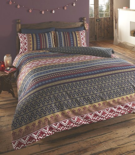 De cama Luxury Indian Ethnic Print Orkney Duvet Quilt Cover Bedding Set, Polyester-Cotton, Multi-Colour, Single