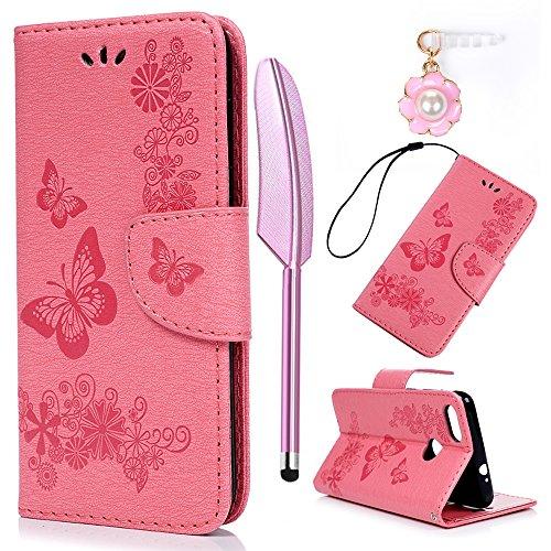 YOKIRIN Huawei Y6 Pro 2017 Lederhülle Hülle Case für Huawei Y6 Pro 2017 Flipcase Tasche Handyhülle Etui Großer Schmetterling PU Leder Schutzhülle Schale Kartenfächer Magnetverschluss Cover Rosa