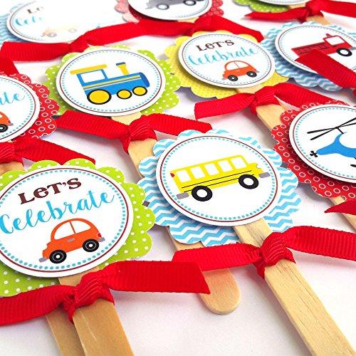 orations - EU Transport-Kuchen-Deckel - Kinder-Jungen-Mädchen-Geburtstags-Baby-Duschen-Partei liefert - Set 12 ()