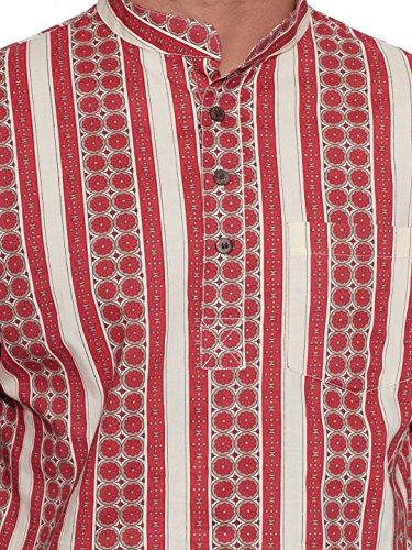 Shalinindia Männer Baumwolle Gedruckt Kurze Kurta Stehkragen Halbe Ärmel Fronttasche Rot Rot