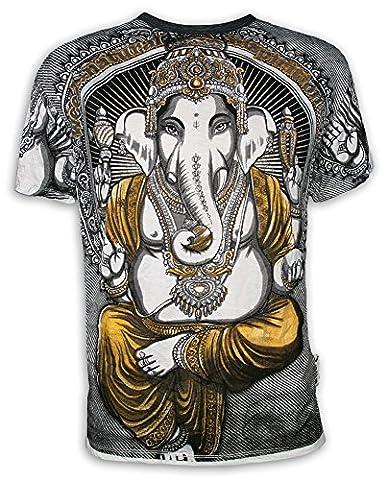 WEED T-shirt Homme - Ganesha Dieu Eléphant Taille M L XL Yoga Esoterisme Hindouisme Bouddhisme Hippie (M, Blanc)