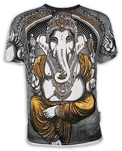 Weed Herren T-Shirt - Ganesha der Elefantengott Hinduismus Goa Party Buddhimus Goa (Weiss XL)