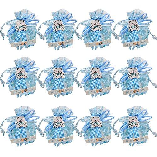 Mini-Bonboniere-Boxen, geeignet als Geburtstagsgeschenkidee, für Mädchen, Babys, ideal als Dekoration und Gastgeschenke für Baby-Parties, Pink (12 Stück), Blauer Bär, 6x10cm