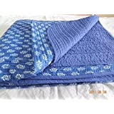 Worldoftextile Hand Block Print Cotton Baby Quilts Indigo Blue Color Soft Baby Sheet Cotton Baby Wrap Small Buty Print #07