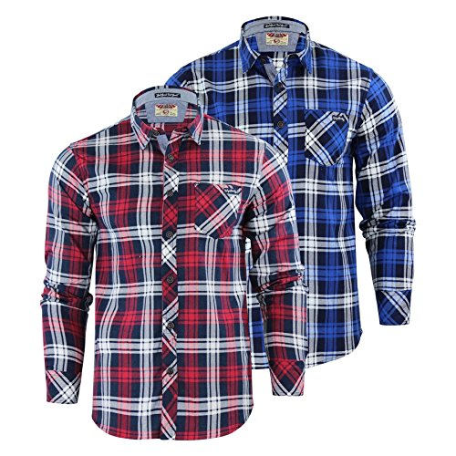 Capo Clothing Mens Check Shirt Tokyo Laundry Carlsson Collared Cotton Flannel Casual Top