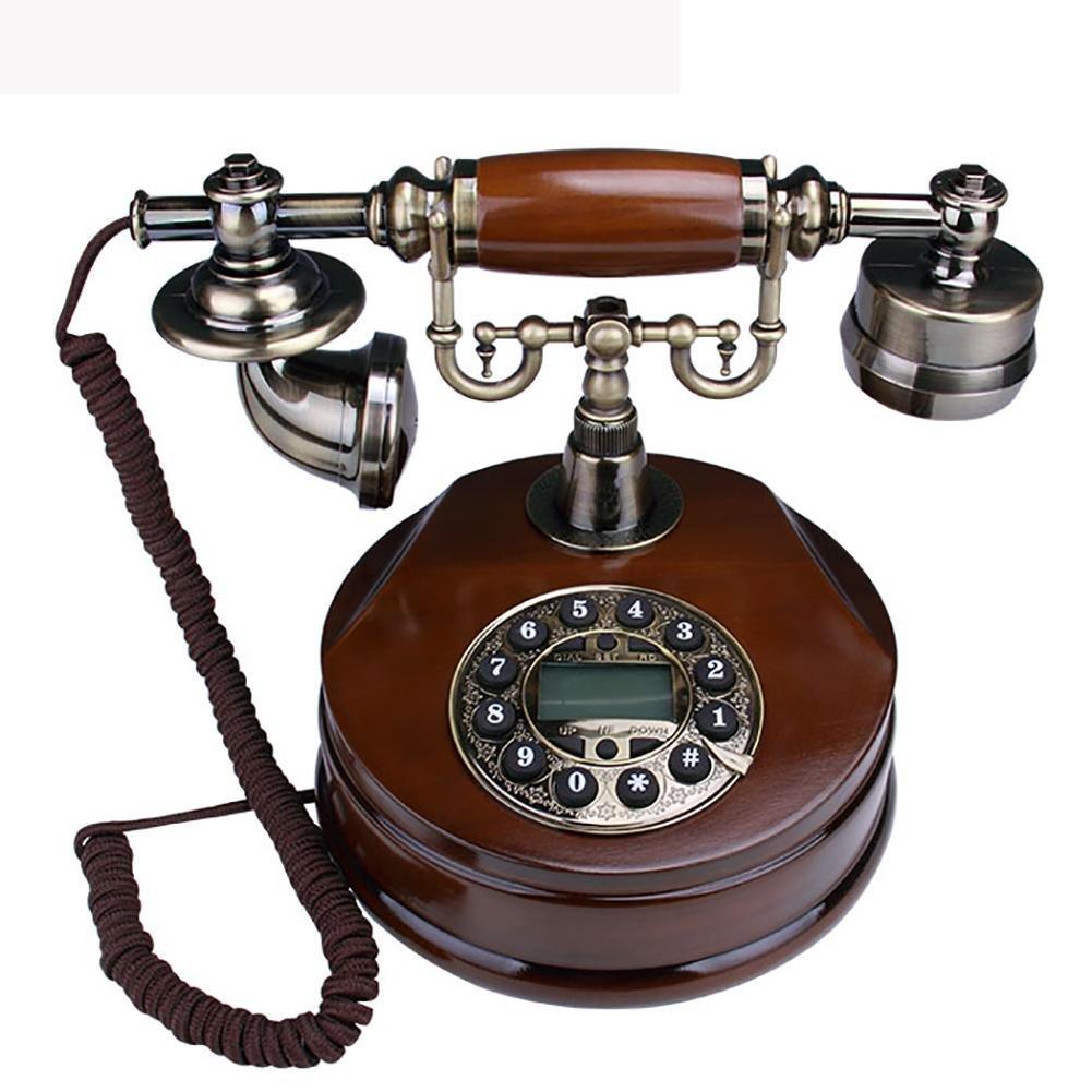 BBIAY Retro Legno Solido Telefono, Stile antico, ID chiamante, Retroilluminazione intelligente, Con