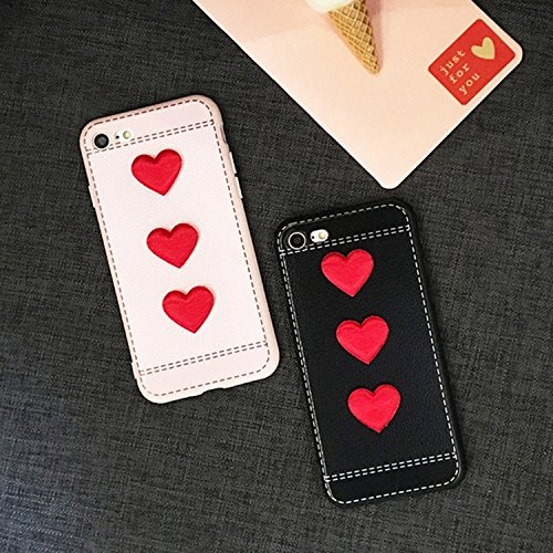GHC Cases & Covers, Für iPhone 6 & 6s Red Heart Full Coverage Schutzmaßnahmen Rückseiten Fall Fall ( Color : Black ) Pink