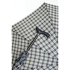 Stützschirm STEPBRELLA Gehstock höhenverstellbar, handsympathischer Fritzgriff, Automatiköffnung, Schirmgestell aus 8 stabilen Streben, edles Schirmdach aus Stoff, Karo schwarz / blau.