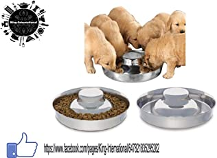 King International Stainless steel Dog Bowl 1 Puppy Litter Food Feeding Weaning Silver Stainless Dog Bowl Dish