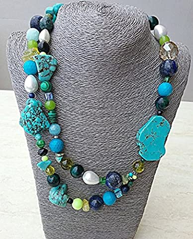Mixed blue and green mineral and white shell pearl necklace
