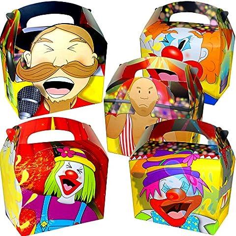 German Trendseller® - 12 x boîtes de cirque┃ Party Box ┃avec poignée ┃pour remplir┃ clown┃ pochette cadeau┃l'anniversaire
