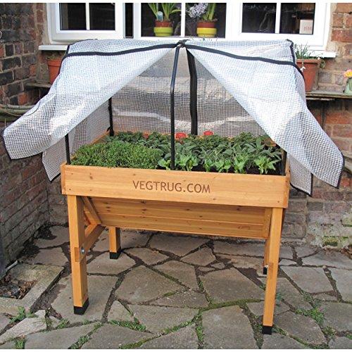 Praktisches Hochbeet Small Gitternetzfolie von VEGTRUG, ca. 98 x 70 x 56 cm, PE-Kunststoff, Gemüsebeet, Jungpflanzenanzucht, Pflanzenschutz, Erweiterung, Stabil,