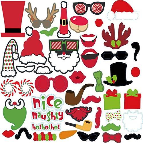 BESTOYARD 45 Stücke Weihnachten Photo Booth Props Kit Lustige Weihnachten DIY Selfie Requisiten Frohe Weihnachten Foto Requisiten für Weihnachten Geburtstag Hochzeit Liefert (Props Santa Booth Photo)