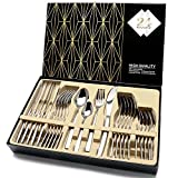 Cutlery Set, Elegant Life Silverware Set,24-Piece Stainless Steel Flatware Sets High-grade Mirror Polishing