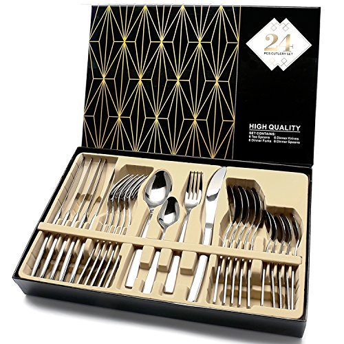 Cutlery Set, Elegant Life Silverware Set,24-Piece Stainless Steel Flatware Sets High-grade Mirror Polishing Cutlery Sets,Multipurpose Use for Home,Kitchen,Restaurant Tableware Utensil Sets with Gift Box Service for 6