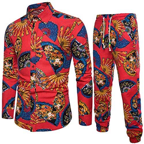 Conjunto de Blusa Casual para Hombre, Invierno Primavera Camisa de Manga Larga Informal Camisa de Corte Slim de Negocios Estampado de Pantalones Largos Blusa Top + Pantalones Absolute