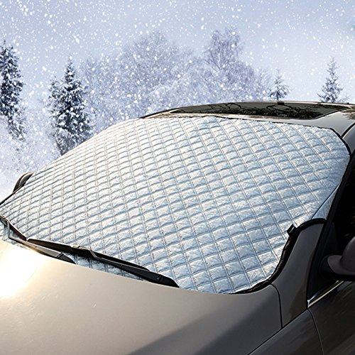 Scheibenabdeckung Auto Winter– IntiPal Frostschutz Frontscheibe Heckscheibe Frostabdeckung Winterabdeckung Eisschutzfolie (Frontscheibe (142 x 98cm)))