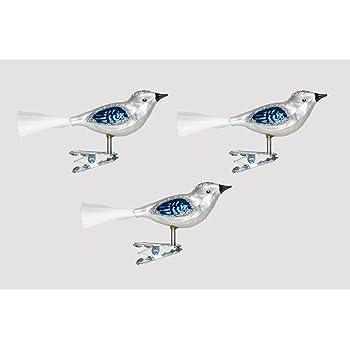 Christbaumschmuck Glas Vogel Set 3 Stuck Silber Blau H Mundgelasen