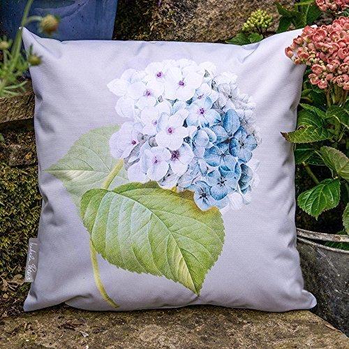 Wasserfeste Kissen für den Garten, Grau im Vintage Stil - Entworfen, bedruckt & Handgemacht in den UK - 50 x 50 cm