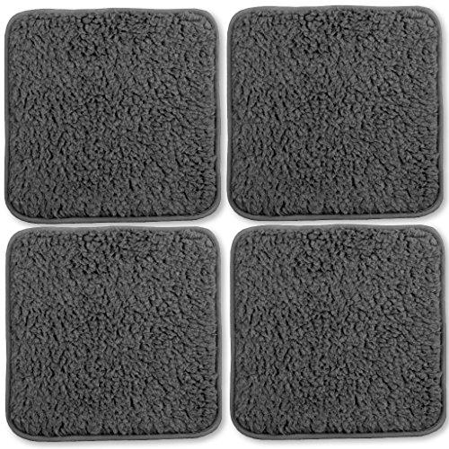 Stuhlkissen Lammflor Sitzkissen Sitzunterlage Polsterauflage 4er Pack 36x36 cm dunkelgrau - anthrazit (Ess-sitz-kissen)