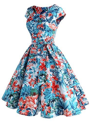 IVNIS Damenkleid Floral Blumen Muster mit Taschen Vintage Kleider 50jähriger Rockabilly Cap-Sleeve Cocktail Lotos Blumen