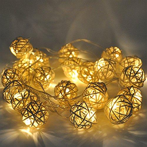 LED Lichterkette Weihnachtsbaum Deko Kugeln Batteriebetrieben mit Funktionelle Batteriebox Constant und Twinkle Beleuchtungsmodi (Kleine Pflanze Kugel) (Gold Tree Garland)