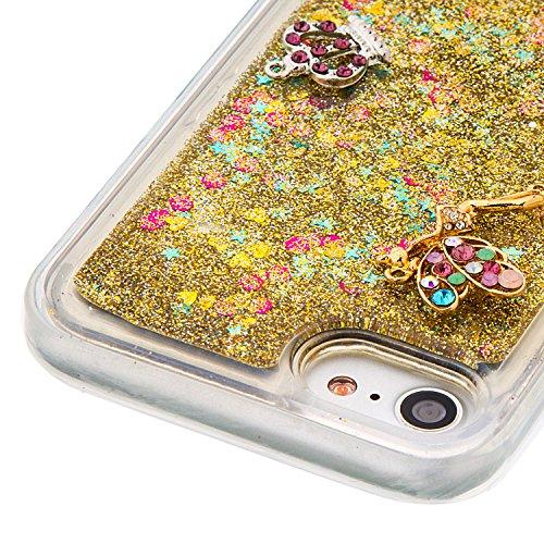"""MOONCASE iPhone 7 Coque, Glitter Sparkle Bling [Angel] Faux Diamant Dessin Motif Liquide Étui Coque pour iPhone 7 4.7"""" Soft TPU Gel Souple Case Housse de Protection Or 03 Or 03"""