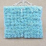144pcs Mini-Rose Künstliche Blumen Multicolor, künstliche Blumen für Zuhause Hochzeit Auto-Dekoration DIY Pompon Kranz Dekorative Brautschmuck Blumen Fake Blumen blau