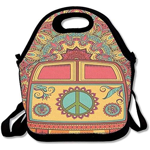 Hippie Vintage Mini Van Peace Sign Lunch Tote Bag for Men Women Kids - Hippie Vintage Tote