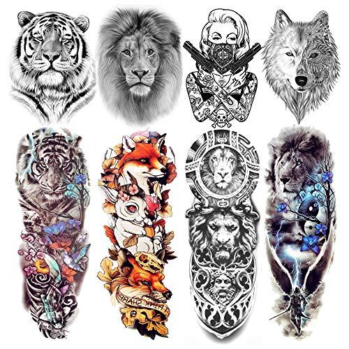Laroi 8 fogli grande tatuaggi temporanei uomo donna adulti braccio completo animali realistico tatuaggio temporaneo manicotto finti full sleeve adesivi lupo maori volpe tigre fiore gamba leone bambini