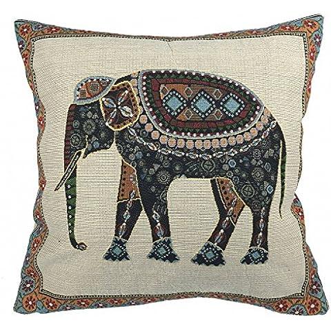 Luxbon Funda de Cojín Almohada Elefante Mascota de India Lino Duradero Decoración para Sofá Cama Coche 18x18