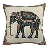 Luxbon Jacquard Lucky Elephant Cushion Covers 45x45cm (Beige) Ethnic Line Cushions Case Festive Holidays Sofa Couch Chair Animal Cotton Throw Pillow Case Cover 18x18 for Home Decor