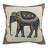 Luxbon Baumwolle Leinen Kissenbezug Kissen Fall Sofa Taille Throw Cover Pillowcase Huelle Couch Stuhl Auto Haus Deko 45 x 45 cm Tapestry Jacquard Retro indischer Elefant