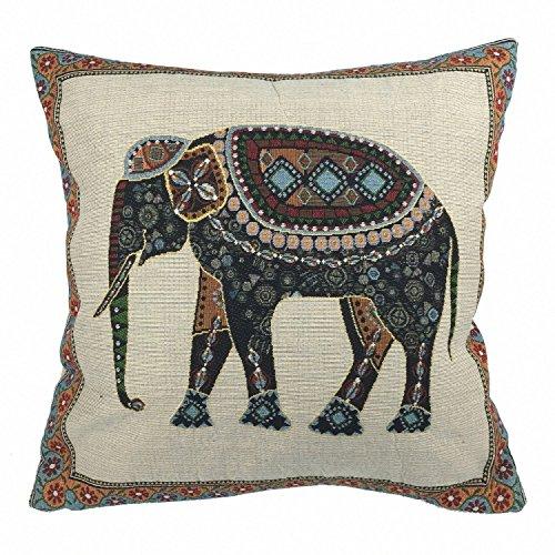 Luxbon Baumwolle Leinen Kissenbezug Vintage Sofakissen Auto Haus Cafe Deko 18 x 18 '' Tapestry Jacquard indischer Elefant