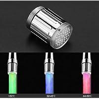 Garosa Robinet d'eau LED coloré avec 3 Couleurs changeantes capteur de température de l'eau Robinet de Jet d'eau à contrôle de température pour la Cuisine et Les salles de Bain