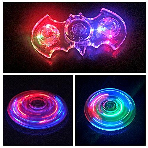 Hand Spinner Fidget Toy, LED Light Spinner Fidget Jouet Tri Fidget Spinner Finger Pour Adultes Enfants ( Cristal Transparent) (Bat)