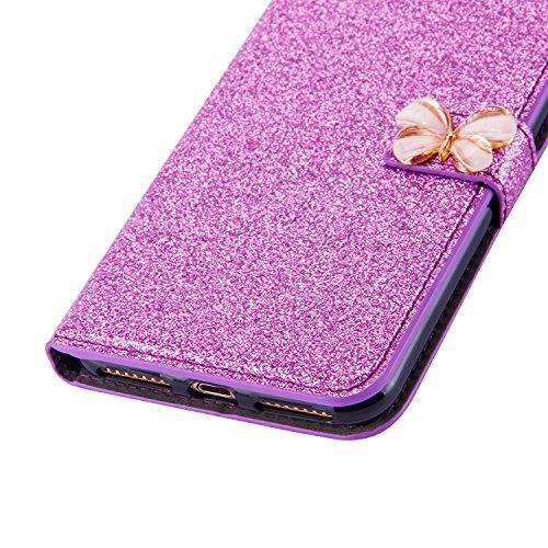 iPhone 6 Cover, Custodia per iPhone 6s, PLECUPE Bling Brillantini Diamante Strass Chiusura Magnetica Caso Skin, Flip Capovolgere Portafoglioc in Pelle Case con Stand e Porta Carte per iPhone 6/6S (Pin Viola-1