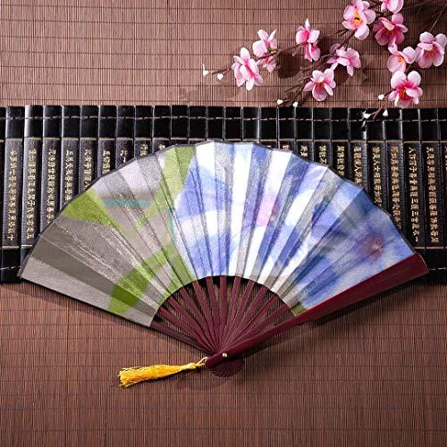 AGIRL Handgemachte Bambus Fan Blue Winde mit Bambus Rahmen Quaste Anhänger und Stofftasche Bambus behandelt Fan The Hand Fan chinesischen Fan (Zu Leicht Machen, Halloween Behandelt)