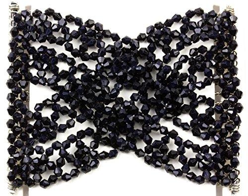 Mytoptrendz elastico da donna con perline argento con doppio lato denti Pettine per capelli vari colori