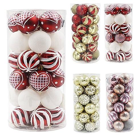 Valery Madelyn Winter Weihnachten 30-tlg Traditionelle 60mm Bruchsicher Weihnachtskugeln in Rot und Weiß, inklusive 30 Metallhaken