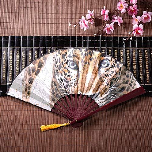 EIJODNL Ventilador de Mano Jaguar con Marco de bambú Borla Colgante y Bolsa de Tela Ventilador de Madera Plegable Chineses Ventilador Fan Mano