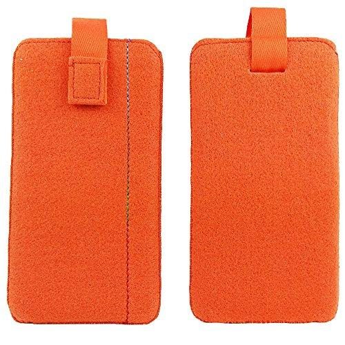 handy-point 5,0'' Filztasche Tasche Hülle aus Filz für Samsung, iPhone, Sony, Lenovo Moto, Huawei, Alcatel, Gigaset, Medion, Neffos, Geräte mit Max.14,2x7,3xx1cm (Orange)