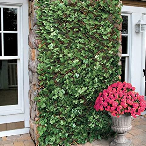 Artificial Maple Ivy Expanding Willow Trellis Garden Fence Screening 1m x 2m by True Products