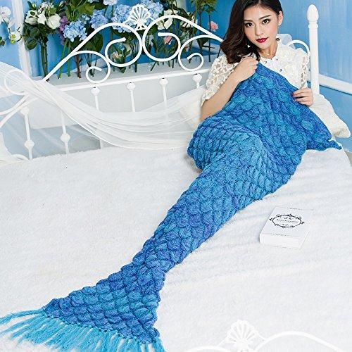 Neify - Meerjungfrau Decke Klimaanlage Decke TV Cover Decke Handgefertigte Sofa Fisch Skalen Strick Super Warm Soft All Seasons Schlafsäcke ( Size : 70*140 cm )