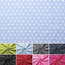 Estrellas - 100% algodón cosido - Estrellas blancas sobre fondo colorido - Por metro - 8 colores (azul claro)