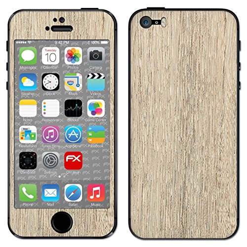 "Skin Apple iPhone 5S / SE ""FX-Brushed-Black"" Designfolie Sticker FX-Wood-Bleached-Oak"