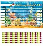 PrimeStick Kinderzimmer Wandtattoo Belohnungskalender Wasserwelt Fische 55x35cm #157
